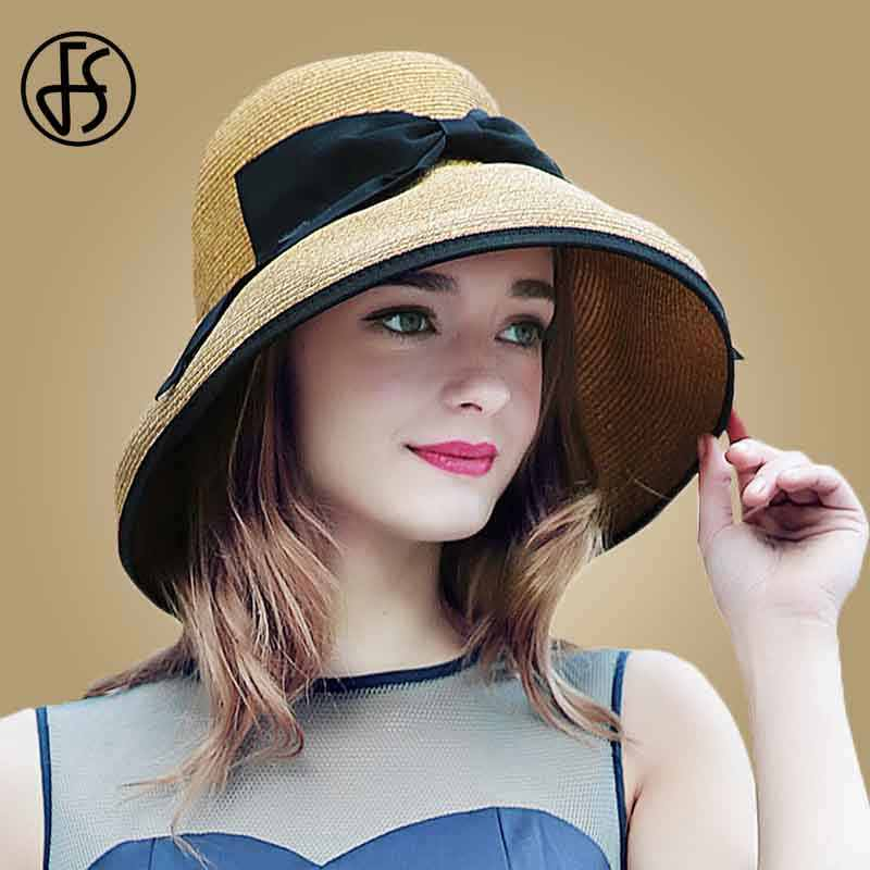 9ce047183986c Detail Feedback Questions about FS Fashion Straw Hats For Women Summer Beach  Foldable Large Wide Brim Floppy Hat Ladies Sun Visor Caps Bowknot Sombreros  ...