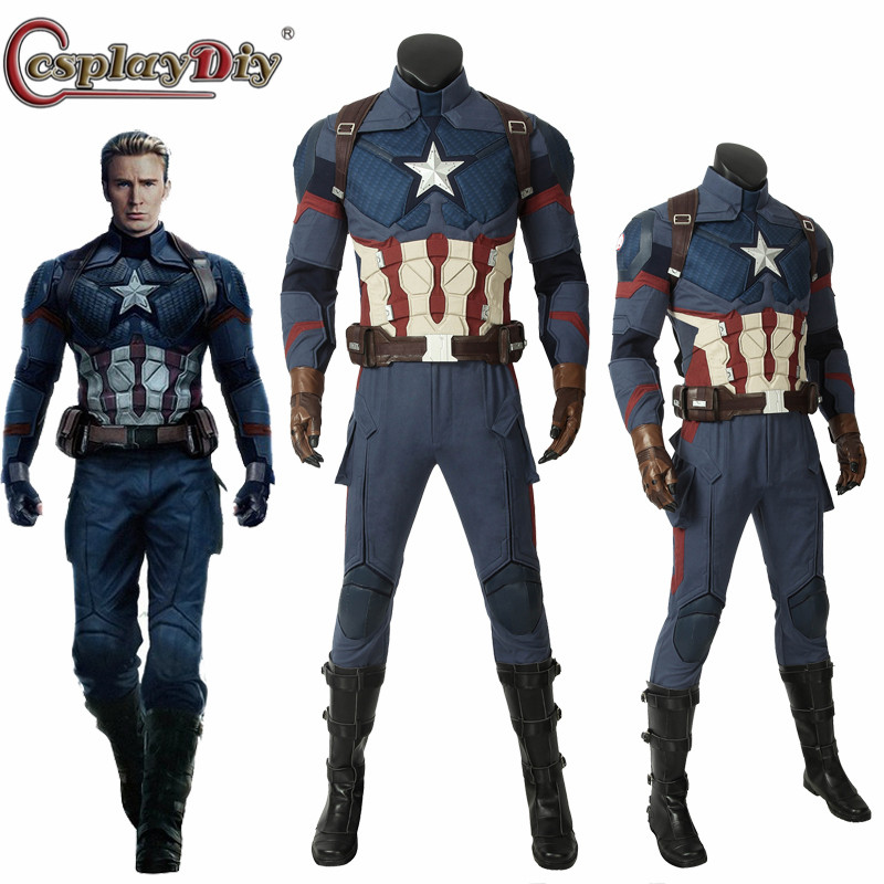 Movie & Tv Costumes Avengers 4 Endgame Costume Captain America Steven Rogers Cosplay Jumpsuit Boots Superhero Halloween Carnival Outfit Custom Made Novelty & Special Use