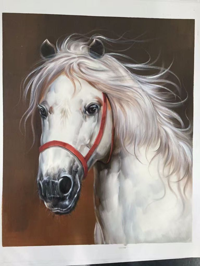 100 handpainted painting classical animal white horse