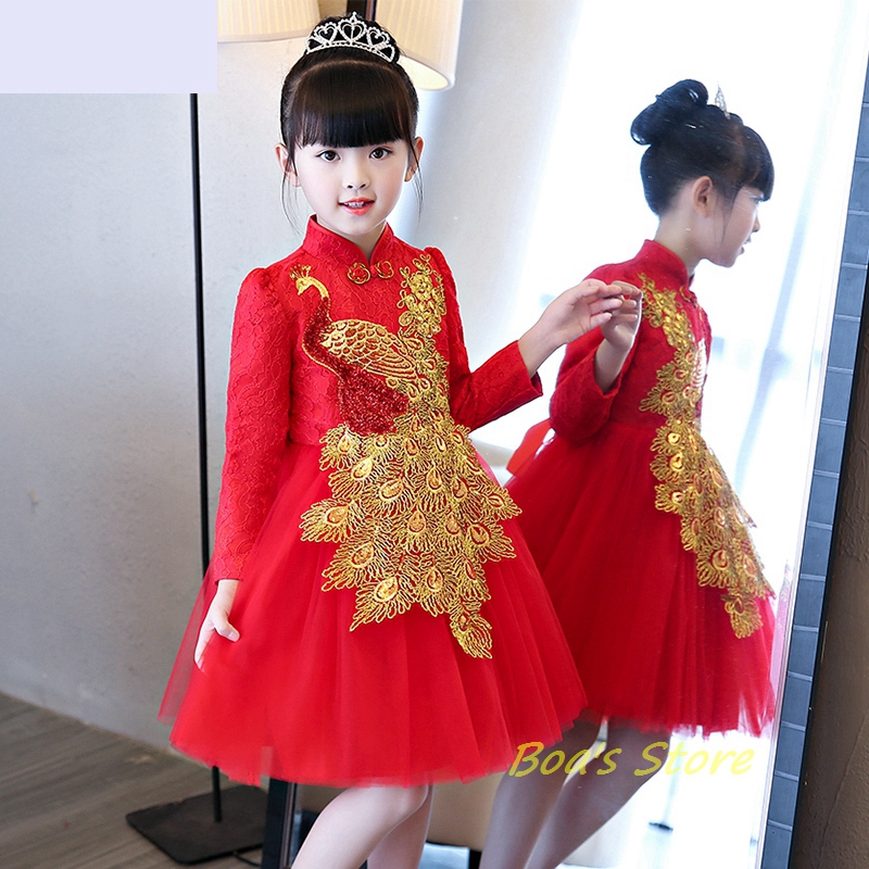 Baby Girls Red Long Sleeve Full Dress Ball Gown Golden Flower Party Wedding Special Princess Kids Dresses For Girls Clothes baby girls red long sleeve full dress ball gown golden flower party wedding special princess kids dresses for girls clothes
