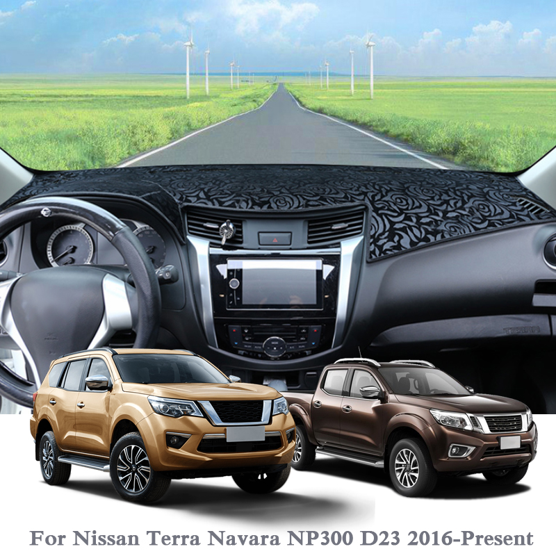 Silicone Anti-Sunshine Mat Car Styling Dashboard Cover Protect Pad Cover For Nissan Terra Navara NP300 D23 2016-Present