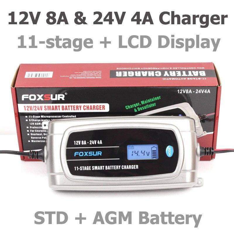 FOXSUR 12 V 24 V Étanche Camion Batterie De Voiture Chargeur, EFB GEL HUMIDE AGM Batterie Chargeur avec Écran lcd, Type De batterie Sélectionnable