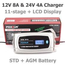 Foxsur 12 v 24 v impermeável caminhão carregador de bateria de carro, efb gel molhado agm carregador de bateria com display lcd, tipo de bateria selecionável