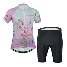 Aogda Ladies Cycling Set Women's Cycle Tops & Bike (Bib) Shorts Mountain Bike Kit Short Sleeve  Butterfly Flowers Reflective