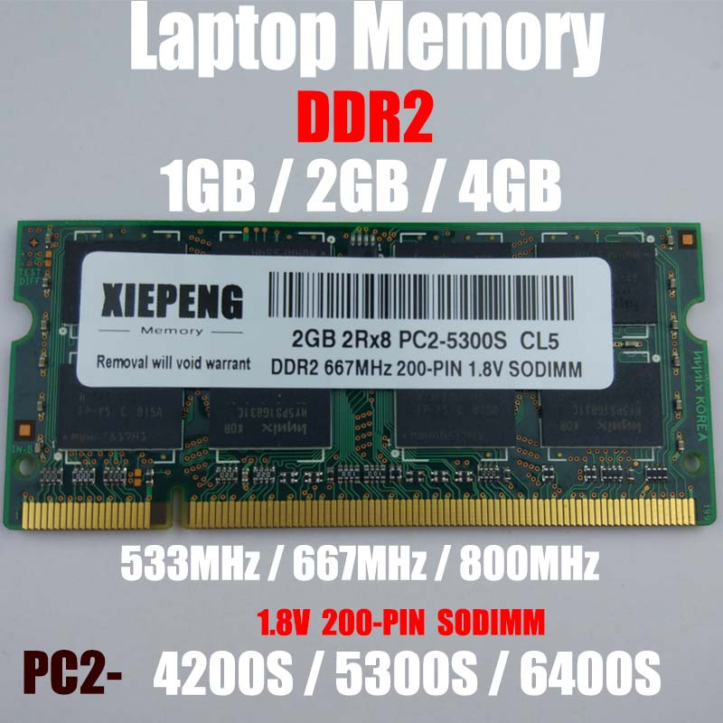 Laptop 2GB 2Rx8 PC2-5300S 667MHz DDR2 RAM 4GB DDR2 800MHz PC2 6400S 1GB Notebook Memory Support DDR2 533mhz PC2- 4200S Computer