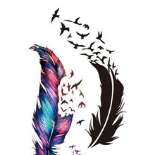 Wild Goose Feather Pattern Tattoo Trendy Waterproof Tattoo Stickers Photo Color Charming Skin Accessories Black&Color
