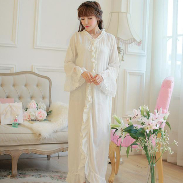 Free Shipping Vintage Royal 100% Cotton Crepe Nightgowns Women s Long  Pijamas Beige Sleepwear pijama feminino 083e50dc0