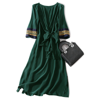 Popular 100% Real Silk Woman Solid Dress Big Bow O Neck Woman Green Gown Half Sleeve Knee Length A Line Female Summer Silk Dress