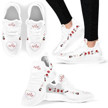 INSTANTARTS Heartbeat Nurse 3D Pattern Women Flat Shoes Summer Comfort&Light Female Casual Shoe Mesh Sneakers Loafers