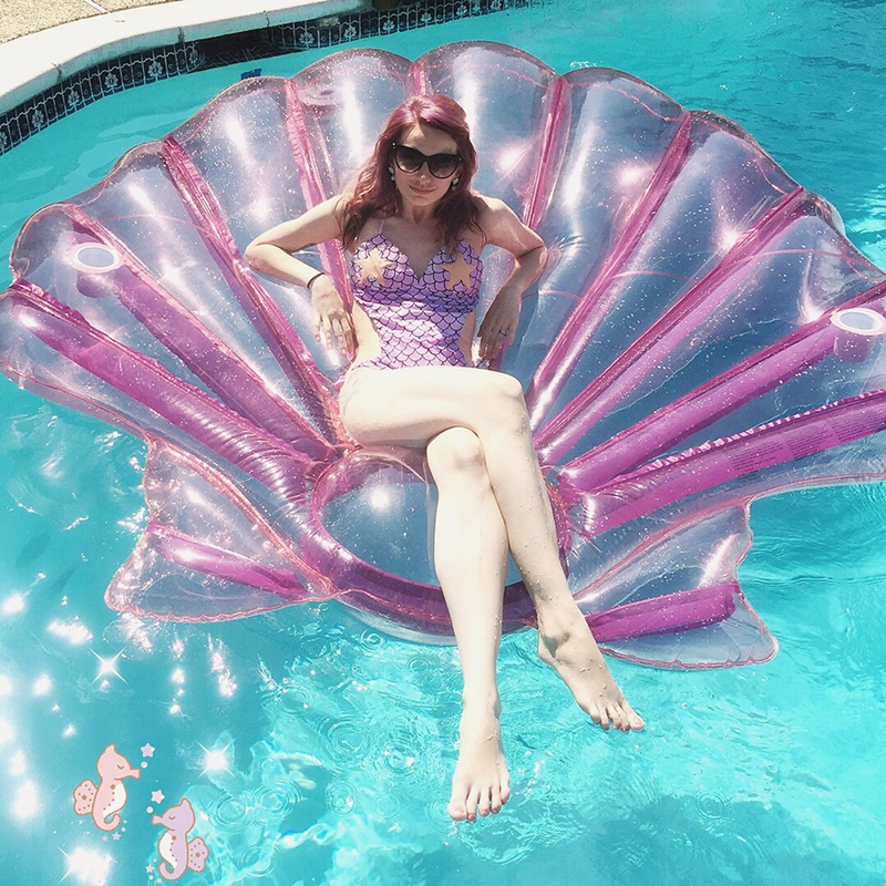 ФОТО Adults Giant Pool Float Purple Pearl Scallops Inflatable Shell Floating Mattress Lounger With Cup Holder