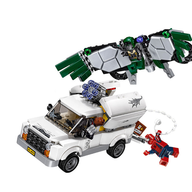 Stzhou 07076 Marvel Super Heroes Spiderman legoe The Beware of vultures Set Children Educational Building Blocks Bricks Toys