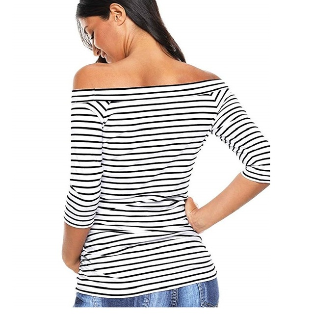 Womens Pregnancy Off Shoulder 3 Quarter Blouse Striped Top Maternity Clothes Slash Neck Pregnancy Womens Clothing ropa mujer 2