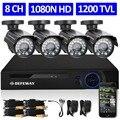 Defeway 1080n 8ch hdmi dvr seguridad 1200tvl 720 p hd al aire libre Sistema de cámara de 8 Canales Cctv DVR Kit Cámara AHD conjunto