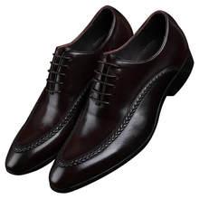 Новые черные/Коричневый Формальные социальные обувь Мужская модельная обувь из натуральной кожи Бизнес обувь в стиле Дерби мужские свадебные жених обувь
