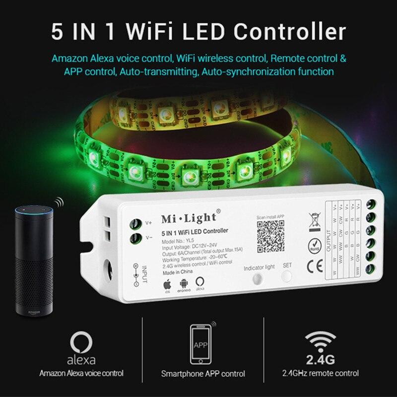 Milight yl5 wifi led controlador para rgb rgbw cct única cor led faixa de luz fita amazon alexa voz telefone app controle remoto