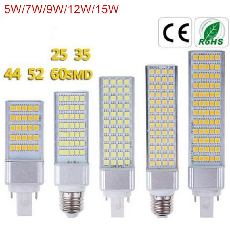 G24 LED Bulbs 5W 7W 9W 12W 15W E27 LED Corn Bulb Lamp Light SMD 5050 Spotlight 180 Degree AC85-265V Horizontal Plug Light s25 3 9w 110lm 13 smd 5050 led red light car steering lamp 12 15v