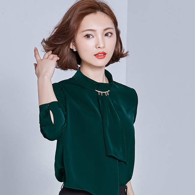 b78b0097a99349 placeholder Autumn Elegant Long Sleeve Diamond Collar Tie OL Women Chiffon Shirt  Blouse Dark Green Emerald S