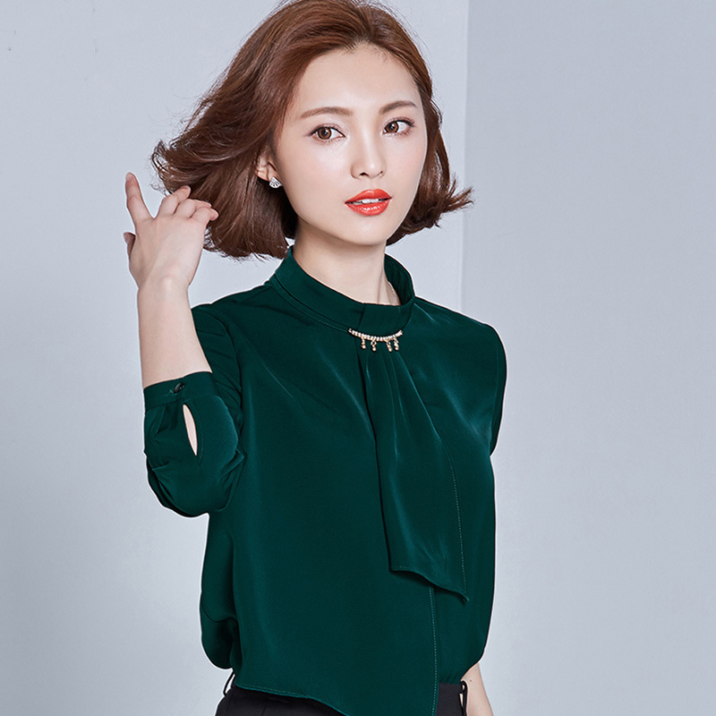 Autumn Elegant Long Sleeve Diamond Collar Tie OL Women Chiffon Shirt Blouse Dark Green Emerald S/M/L/XL