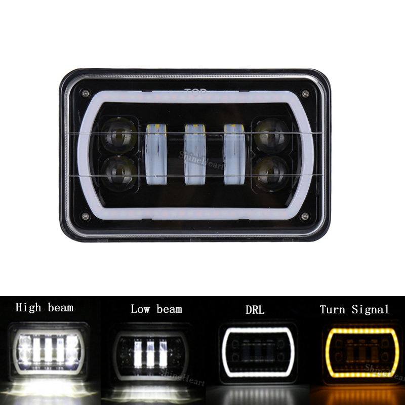 2018 1PCS Square 4x6Inch LED Headlight 12V For Trucks Off road vehicle car with white&yellow Led Halo Car Projector Headlights