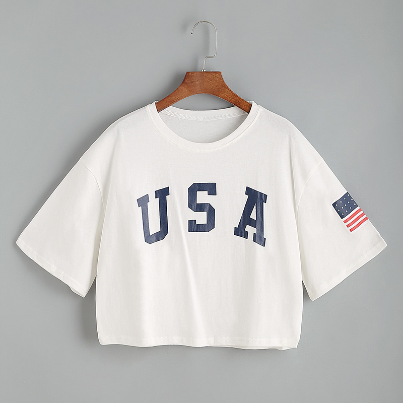 USA Letter Print Drop Shoulder White Crop T-shirt