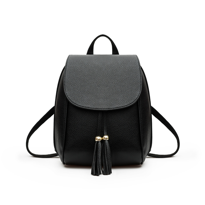 Solid Backpack Female Black Preppy Style School Backpacks 2017Funny Quality Pu Leather Fashion Women Bags Travel