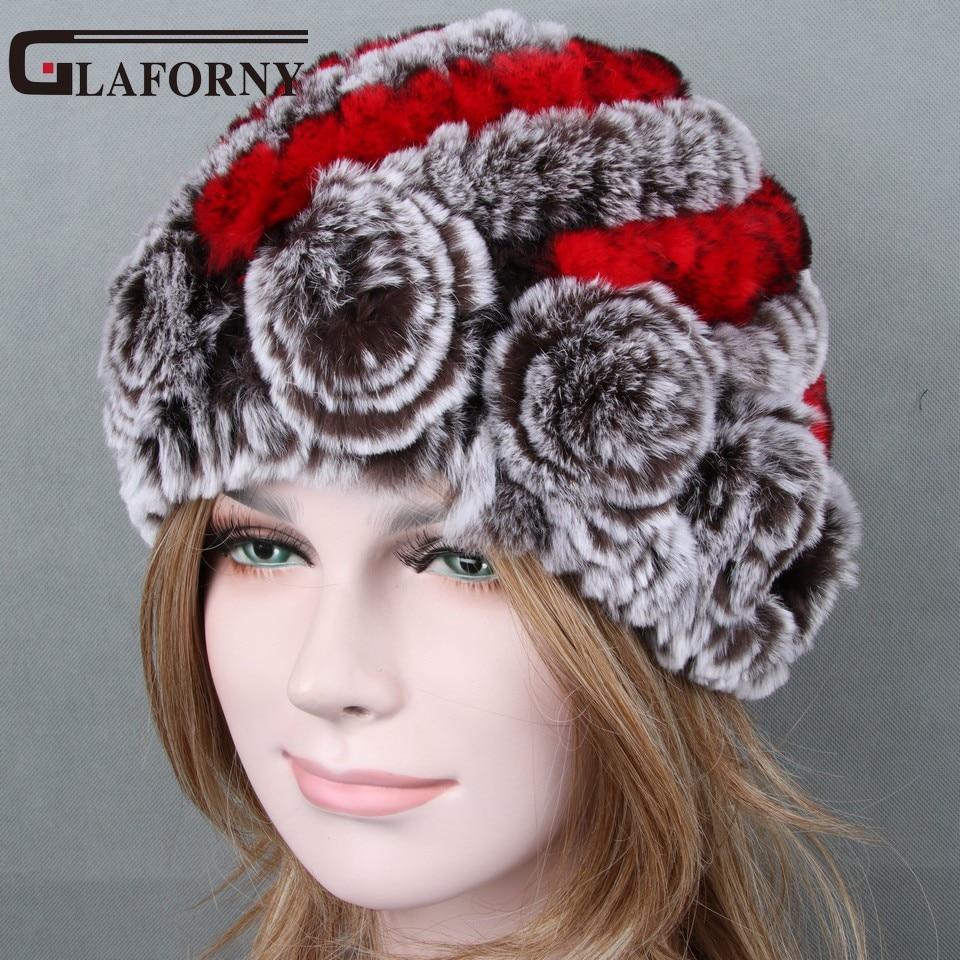Glaforny 2017 Real Rex Rabbit Fur Hats Women's Winter Warm Fur Beanies With Fur Flowers Braid Hat Female 14 Colors