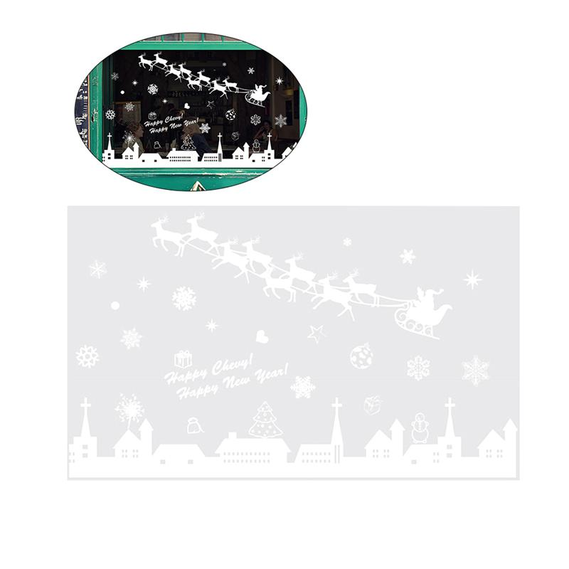 Christmas Window Sticker Decorations Deer Snowflake Window Clings Happy New Year Glass Decals Stickers