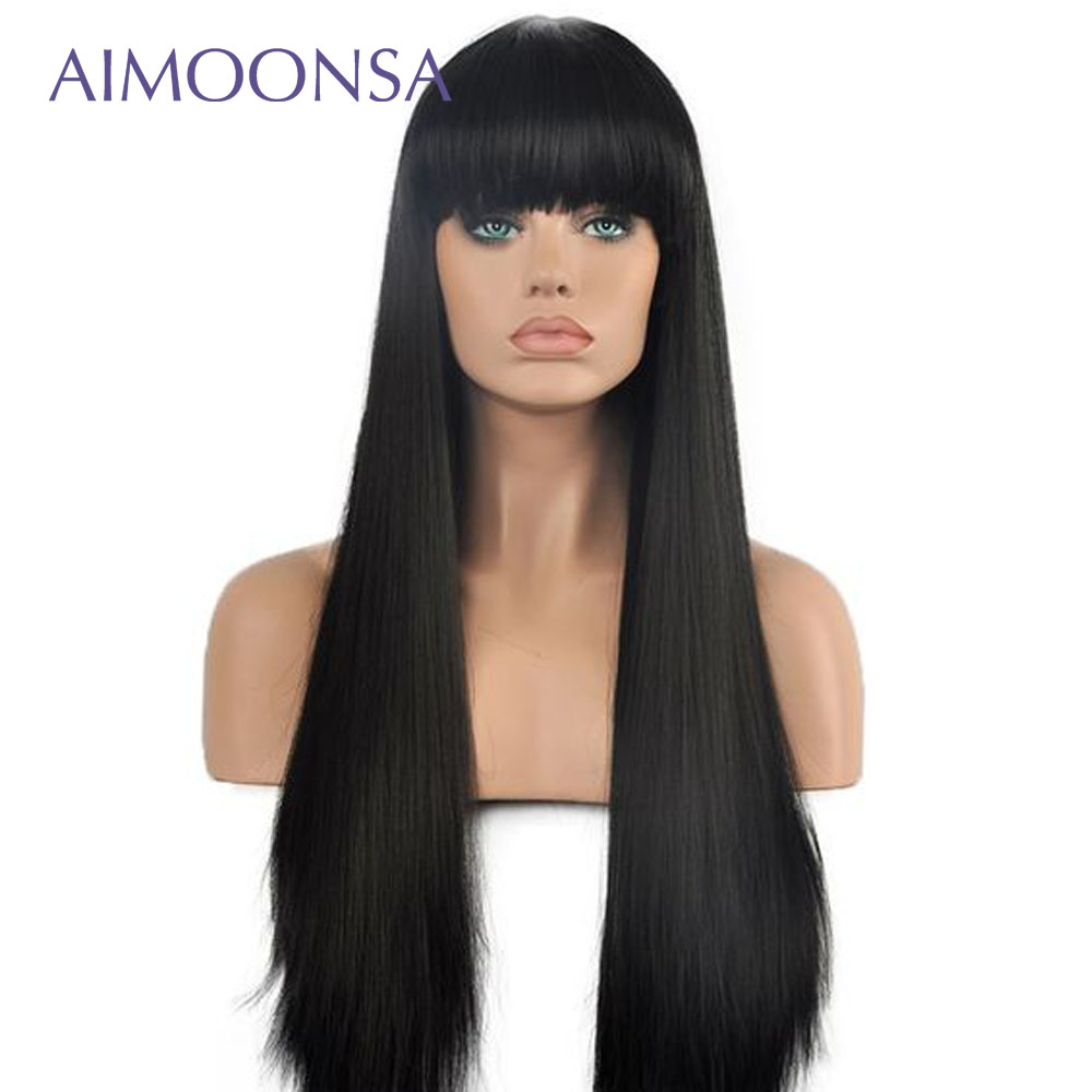 Yaki Straight Human Hair 360 Lace Frontal Wig Brazilian Wig Natural Human Hair Wigs With Bangs