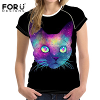 2017 Summer T Shirt Women Short Sleeve O Neck Shine Cat Print Mujer Casaul T Shirt
