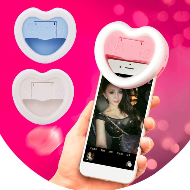Great Universal Heart Shape LED Photography Flash Light Up Selfie Luminous Lamp  Rechargeable Phone Ring Light For Good Ideas