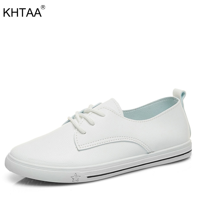 KHTAA Women Platform Vulcanized Shoes Lace Up Sneakers Female Flats Sewing Star Footwear For Woman Casual Walking Shoes instantarts flat shoes women breathable cute cartoon elephant sneakers footwear female casual lace up air mesh flats woman shoes