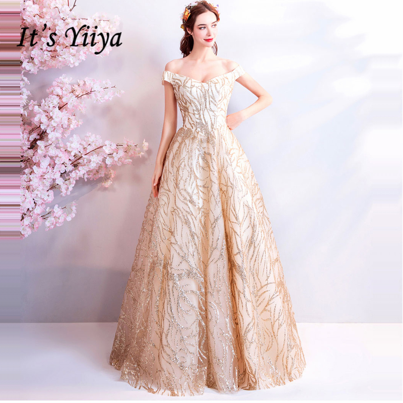It's YiiYa Gold   Evening     Dresses   2018 New Arrival Sequins Bling A-line Boat Neck Party   Evening     Dress   Floor-length Lace up LX813