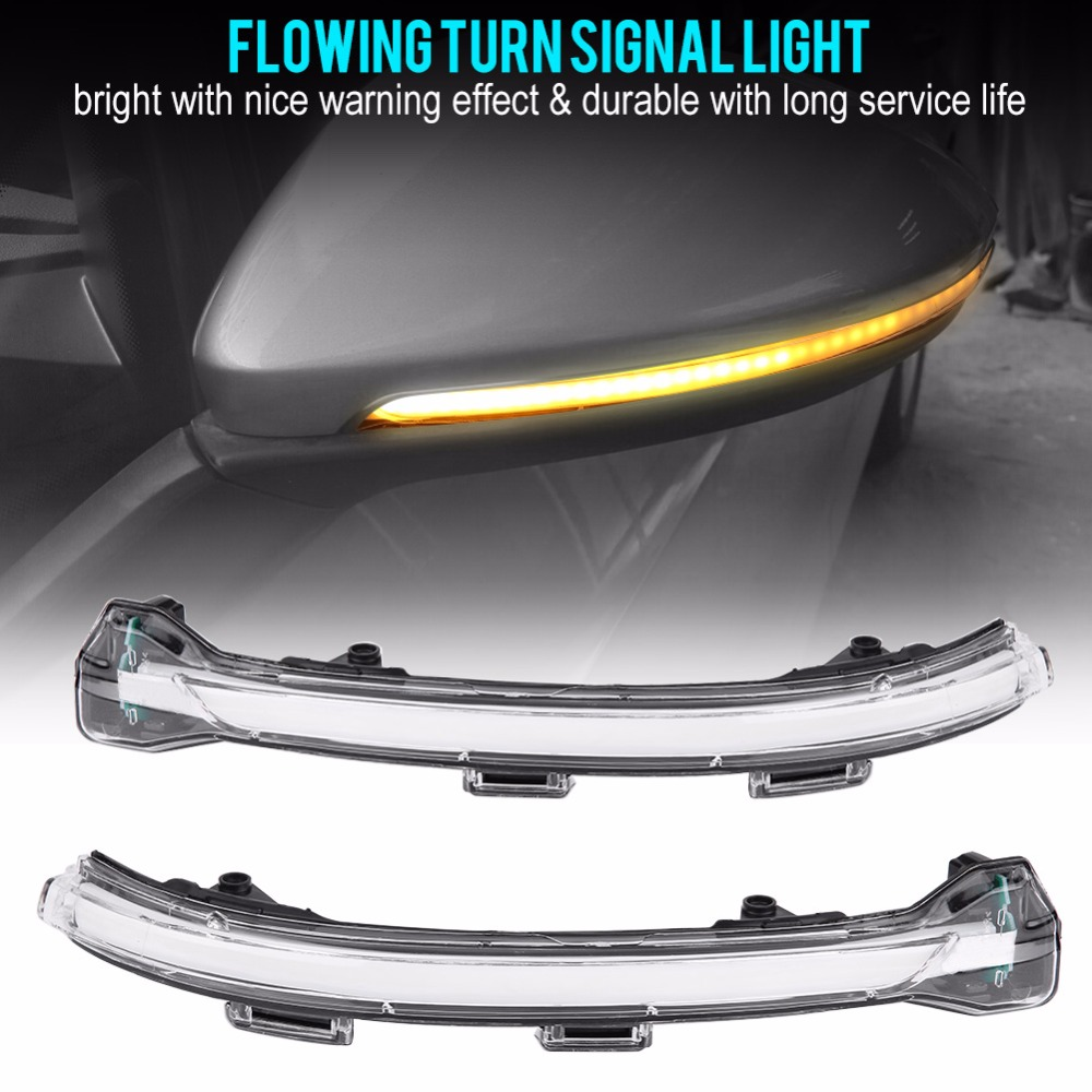 1 Piar Water Flowing LED Turn Signal Side Wing Rear View Mirror Light Universal for Volkswagen