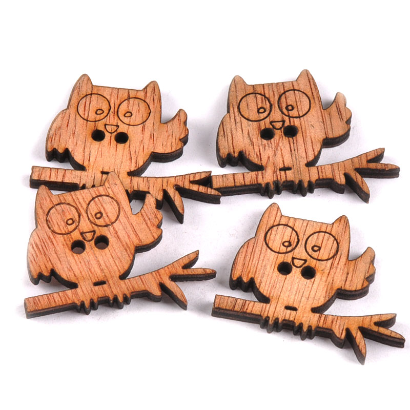 20mm Cards 10 Wooden OWL CRAFT SEWING BUTTONS Round  2 Hole Scrapbook