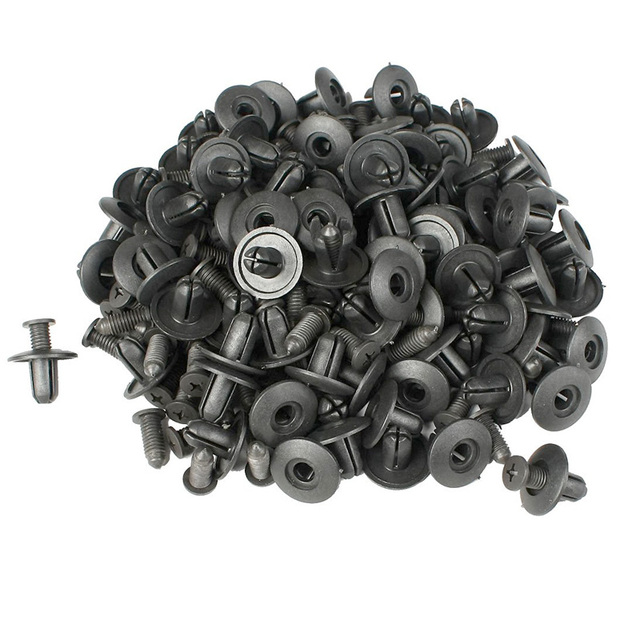ZYHW Marca 100 pcs 8mm buraco clips carro de plástico Preto rebites retentor clips porta do carro