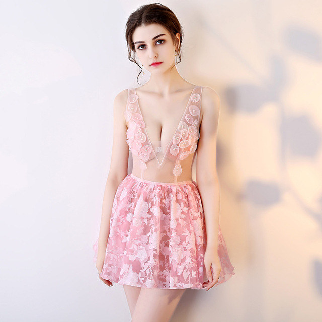 ca48e6f8c7e US $146.48 |2017 Sexy Summer Dresses Sleeveless Halloween Pink Womens  Cosplay Evening Party Embroidery Club Ladies Sweet Girls Mini Dress-in  Dresses ...
