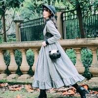 Высокое Качество Зимние винтажные длинное шерстяное платье женские ботильоны длина полный рукав элегантный классический серый в клетку пл