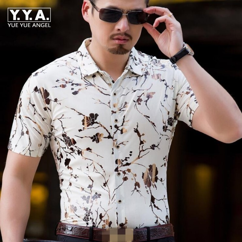 Top Chic Mens Short Sleeve Silk Shirts Chinese Style Summer Casual Floral Painted Single Breasted Shirts For Men Homme Tops