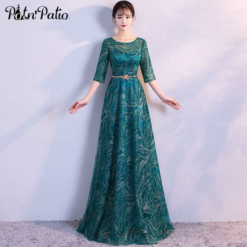 Shiny Sequin Long Evening Dress Sexy Transparent Half-Sleeve Belt Luxury Green Formal Wear Dress Elegant Special Occasion Dress