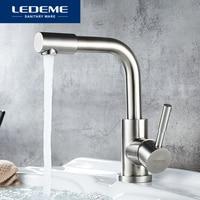 Leeme-grifo de lavabo para baño, mezclador de agua de un solo mango con acabado de acero inoxidable, L1098-4