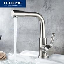 LEDEME смеситель для раковины водопроводный кран для ванной комнаты отделка из нержавеющей стали с одной ручкой кран для раковины Смеситель для ванной L1098 4