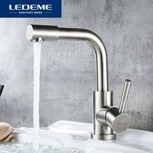 LEDEME אגן ברז מים ברז אמבטיה ברז נירוסטה גימור ידית אחת מים כיור ברז מיקסר אמבטיה ברזי L1098 4