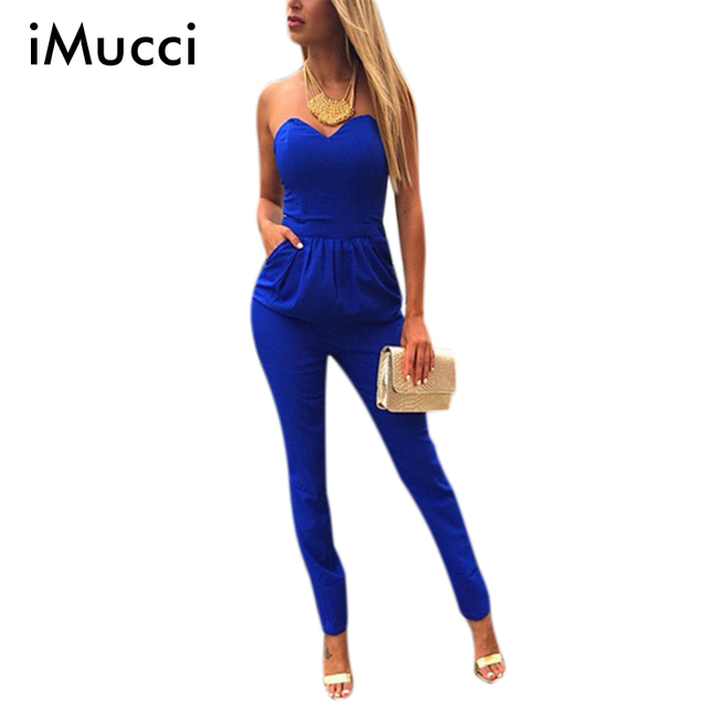 a5e7fbae3b Strapless Off Shoulder Sexy Skinny Bodycon Jumpsuits Summer New Solid  V-Neck Rompers Womens Jumpsuit