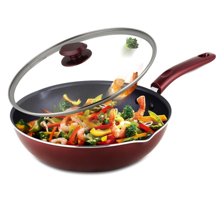 2016 Cooking Tools Pancake Pan Kitchen Supplies Tools 30cm Glass Lid Double Bottom Pan Pot Wok Non stick Cookware Cooker Common