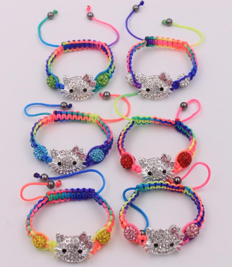 10 Armband/lot Kind Kinder Hello Kitty Armbänder Mischfarben Shamballa Perlen Armband Schmuck
