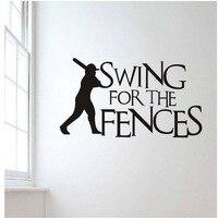 Béisbol pegatina de pared para niños habitación Swing para las vallas creativa cita pared extraíble mural dormitorio Decoración