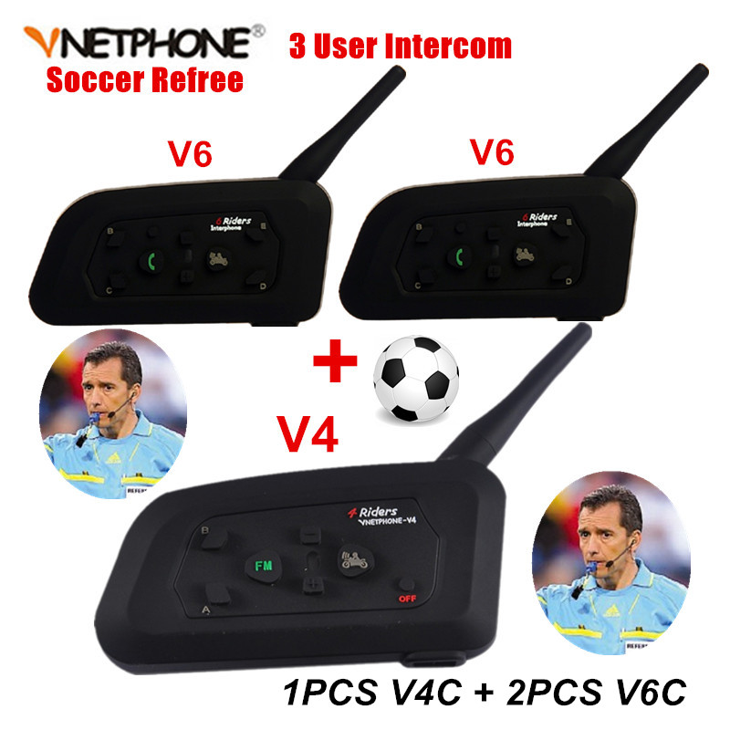 Vnetphone Professional Football Referee Bluetooth Intercom System Soccer Referee Communication BT Interphone Headset Earphones