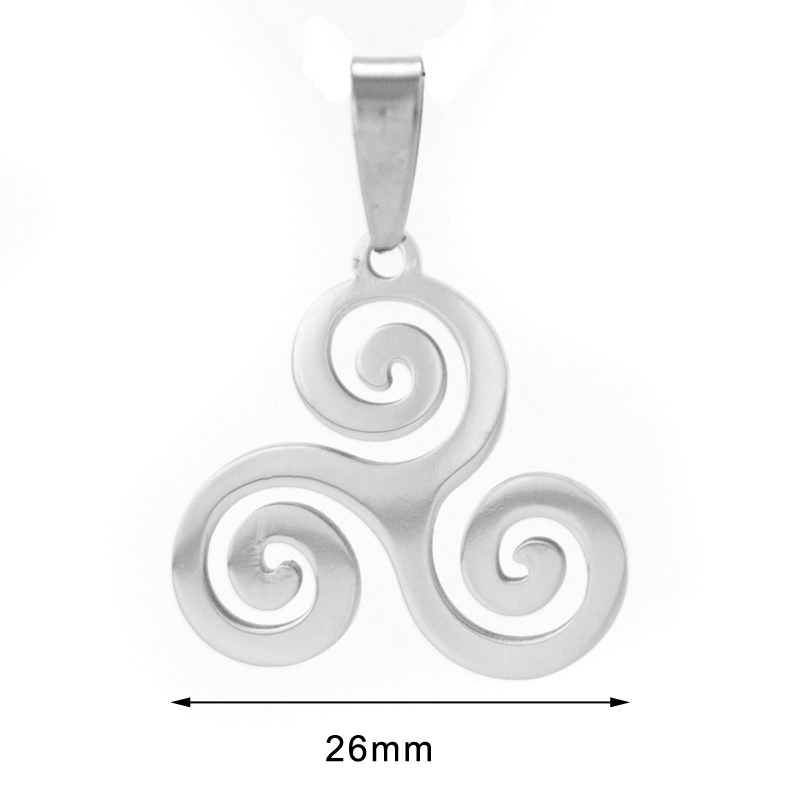 Stainless Steel Spiral Necklace Triskel Inspired Celtic Pendants With 50/60/70cm Chain Making Jewelry Mirror Polishing