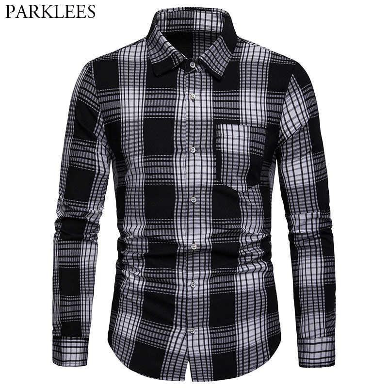Мужские Hipster рубашка в клетку повседневное квадратный воротник мужской черный на пуговицах мужская классическая рубашка с длинным рукавом проверьте уличная одежда