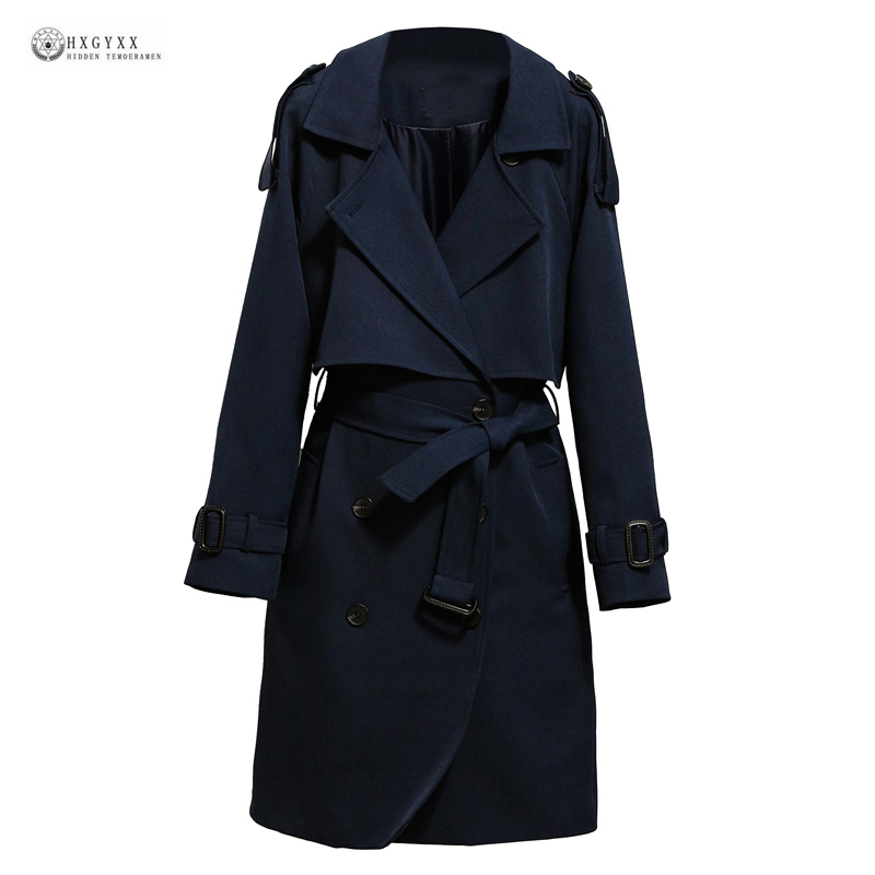 2017New Spring Long Outerwear Coat Navy Blue Long Sleeve Turn-down Collar Double Breasted British Style Autumn   Trench   Coat OK593